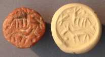Ancient Coins - An Iron Age IIa Conoid Reddish Stone Seal, 10th-9th century BCE