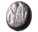 Ancient Coins - An Iron Age Silver Seal Depicting a Human Figure Standing, Holding a Rod, 8th-7th century BC
