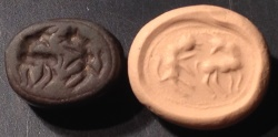 Ancient Coins - An Iron Age Black Stone Scarab Seal, Depicting two Quadrupeds, ca. 8th century BCE