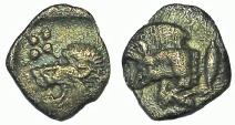 Ancient Coins - MYSIA: KYZIKOS, CIRCA 480-450 BC. AR TETARTEMORION