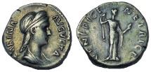 Ancient Coins - SABINA, WIFE OF HADRIAN DENARIUS, AD 134-136