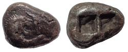 Ancient Coins - Kings of Lydia. Croesus 564-539 BC. Double Siglos or Stater. Rare.