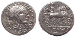 Ancient Coins - Q. Curtius and M. Sergius Silus. 116-115 BC. AR Denarius