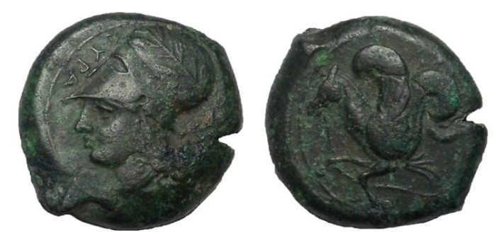 Ancient Coins - Sicily, Syracuse Bronze litra, ca 375-345 BC. VF
