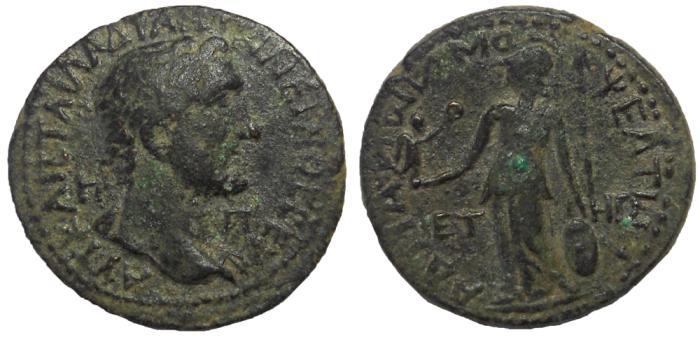 Ancient Coins - Cilicia, Mopsus: Antoninus Pius, 138-161 AD. Æ 24 mm.  Athena Reverse