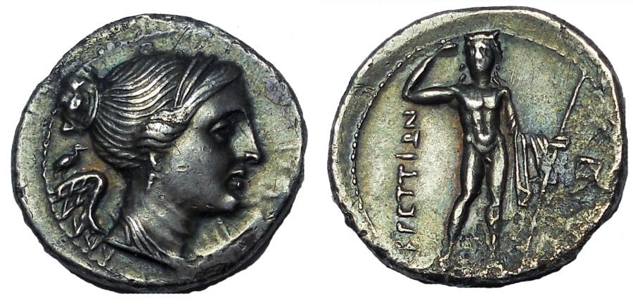 Ancient Coins - Bruttium. The Brettii. Ca. 216-214 BC. Second Punic War issue, AR drachm, EF