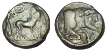 Ancient Coins - Sicily, Gela AR Tetradrachm. Circa 480-475 BC.