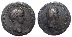 Ancient Coins - Cappadocia, Caesarea. Nero, with Agrippina Junior. 54-68. AR Didrachm. Rare.