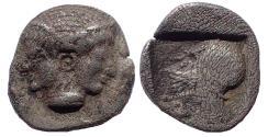 Ancient Coins - Mysia, Lampsakos. Circa 500-450 BC. AR Obol