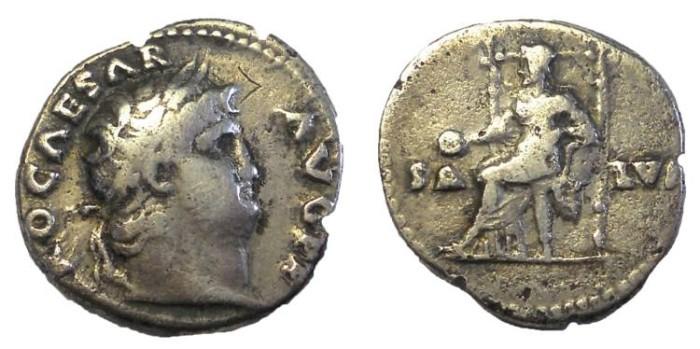 Ancient Coins - Nero, 66-67 AD.  AR Denarius.  Salus Reverse