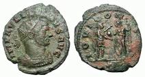 Ancient Coins - Aurelian, 270-275 AD.  AE Antoninianus, IOVI CONSER Reverse