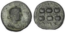 Ancient Coins - Cilicia, Anazarbus. Valerian I. AD 253-260. Æ Hexassarion