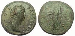 Ancient Coins - Diva Faustina Sr., wife of Antoninus Pius. Died 141 AD. Æ Sestertius