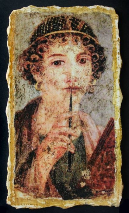 Ancient Coins - Sappho the Lyrist Reproduction Fresco