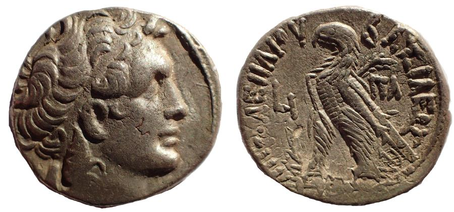 Ancient Coins - Cleopatra VII Thea Neotera, 51-30 BC. Tetradrachm. dated 43-42 BC.