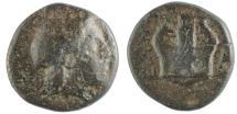 Ancient Coins - Macedon, Olynthos, Chalcidian League. Circa 432-348 BC. Æ 15 Rare.