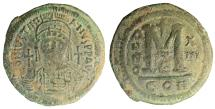 Ancient Coins - Justinian. 527-565 AD. Æ Follis, dated AD 539-540, during the recovery of Italian territory by Belisarius