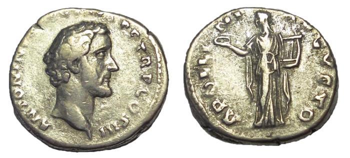 Ancient Coins - Antoninus Pius, 138-161 AD. AR Denarius.  Apollo Reverse