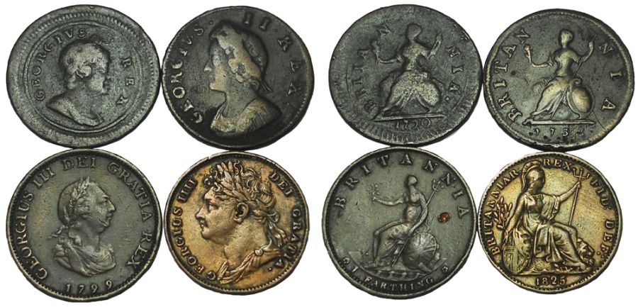 World Coins - Lot of 4 English Farthings: George I-George IV