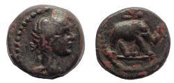 Ancient Coins - Egypt. Alexandria. Trajan AD 98-117. Dichalcon. Rhinoceros. Emmett 719 (R5) Very Rare. From the E. E. Clain-Stefanelli collection.