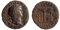Ancient Coins - Nero, 54-68 AD. AE As, Temple of Janus Reverse