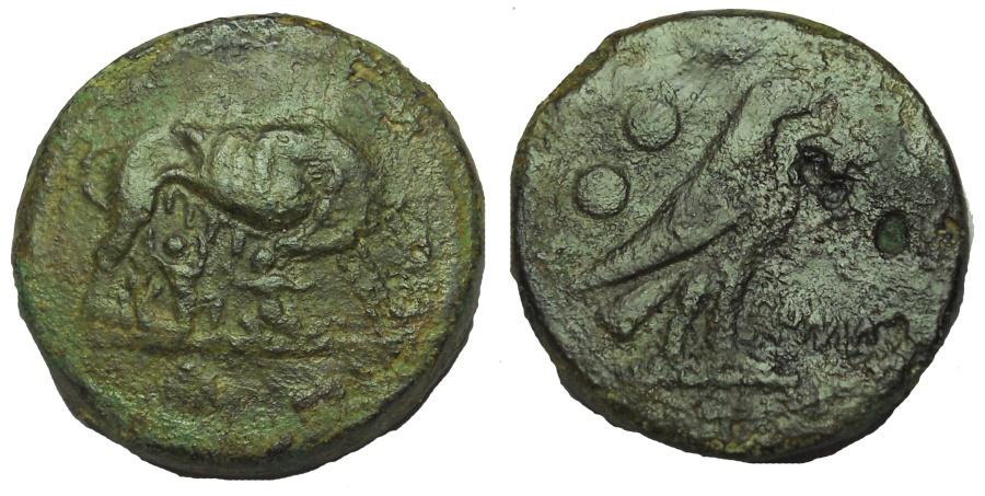 Ancient Coins - Anonymous. 217-215 BC. Æ Sextans
