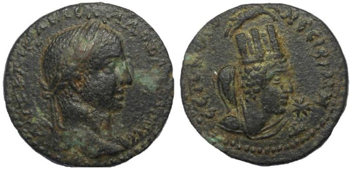 Ancient Coins - Severus Alexander, 222-235 AD. Æ 26, Mesopotamia, Nisibis.