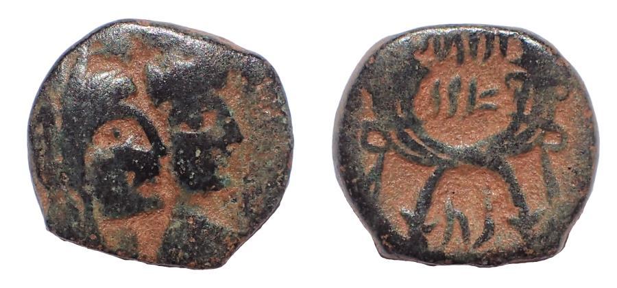 Ancient Coins - Nabataea. Aretas IV, with Shuqailat. 9 BC-AD 40. Æ 17