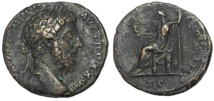 Ancient Coins - Marcus Aurelius, 161-180 AD.  AE Sestertius.  Jupiter Reverse