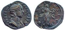 Ancient Coins - Julia Mamaea, mother of Severus Alexander. Augusta, 222-235 AD. Æ Sestertius