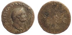 Ancient Coins - Vespasian, 69-79 As, Lugdunum mint. Very Rare.