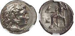 Ancient Coins - Kings of Macedon, Philip III Arrhidaeus (323-317 BC). AR tetradrachm NGC AU 5/5 - 4/5, Fine Style.  Babylon