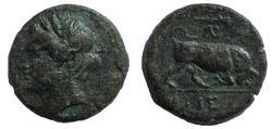 Ancient Coins - Sicily, Syracuse, c. 275-265 BC. Æ 17 Rare.