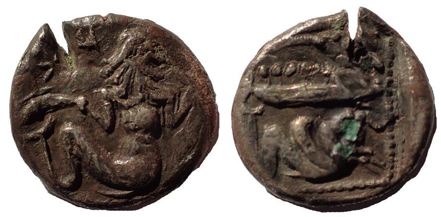 Ancient Coins - Phoenicia, Arados AR Fouree Tetrobol. Uncertain king, circa 400-380 BC. Rare.