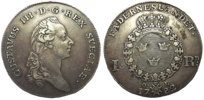 World Coins - Sweden: King Gustav III, 1771–1792. AR Riksdaler