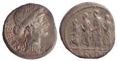 Ancient Coins - Q. Servilius Caepio (M. Junius) Brutus. 54 BC. AR Denarius