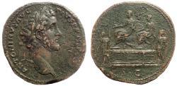 Ancient Coins - Antoninus Pius, 138-161 AD. Æ Sestertius. Rare.