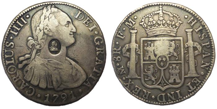 Ancient Coins - George III, 1760-1820.  Emergency Issue 4s/9d. Countermark oval on Mexico 8 Reales 1791
