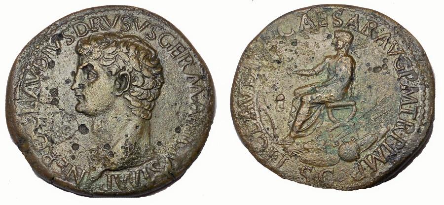 Ancient Coins - Nero Claudius Drusus, father of Claudius. Died 9 BC. Æ Sestertius