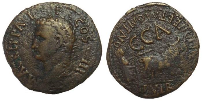 Ancient Coins - Very Rare Agrippa, Spain, Terraconensis. Caesaraugusta: Æ 30 mm