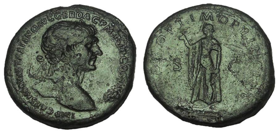 Ancient Coins - Trajan, 98-117 AD. AE Sestertius. Spes