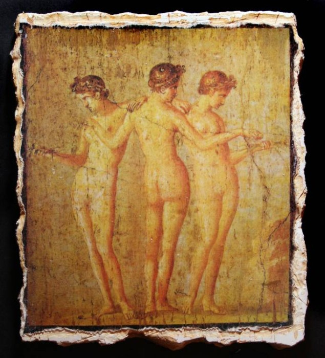 Ancient Coins - The Three Graces Reproduction Fresco
