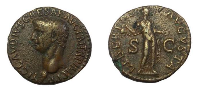 Ancient Coins - Claudius, 41-54 AD. Æ As.  Libertas Reverse.  VF