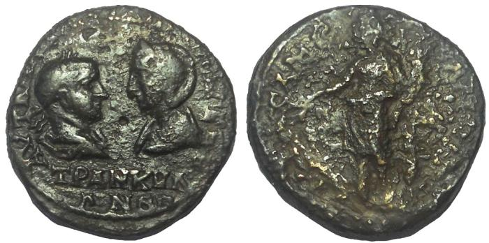 Ancient Coins - Thrace: Messembria, Gordian III and Tranquillina, 238-244 AD. AE 25 mm