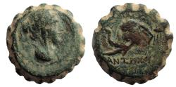 Ancient Coins - Seleukid Empire. Antiochos IV Epiphanes. 175-164 BC. Serrate Æ 15