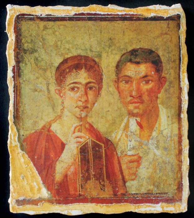 Ancient Coins - Terentius Neo & Wife Reproduction Fresco