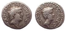 Mark Antony and Octavian. Denarius, 40-39 BC.