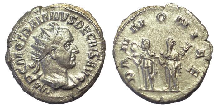 Ancient Coins - Trajan Decius, 249-251 AD.  AR Antoninianus.  EF