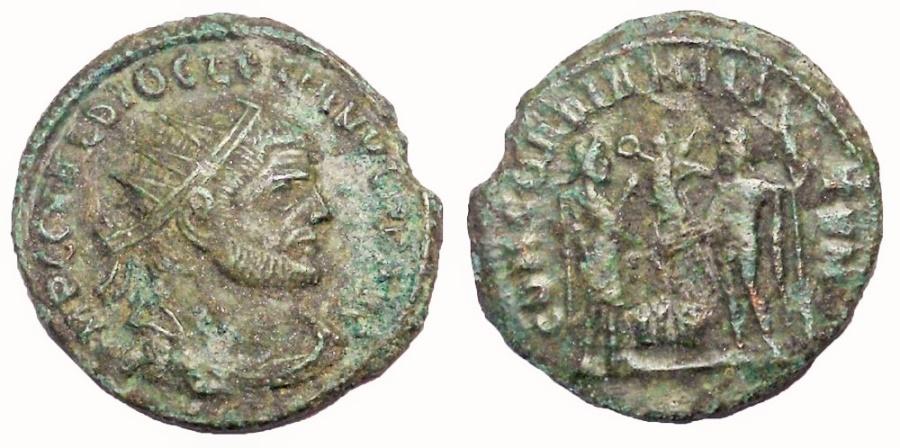 Ancient Coins - Diocletian, 293-294 AD. Æ Antoninianus.  CONCORDIA MILITVM Reverse
