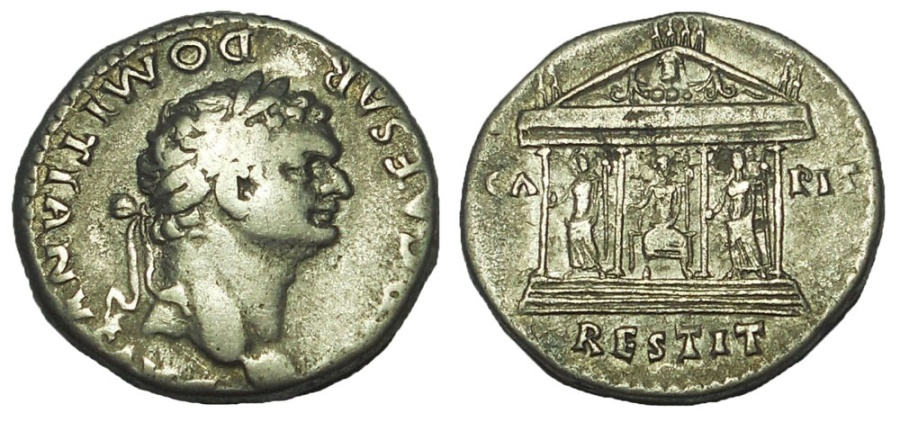 Ancient Coins - Domitian, 81-96 AD. AR cistophorus, Capitoline Temple reverse.  Rare